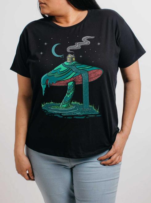 Mushroom Mountain - Multicolor on Black Womens Boyfriend T Shirt