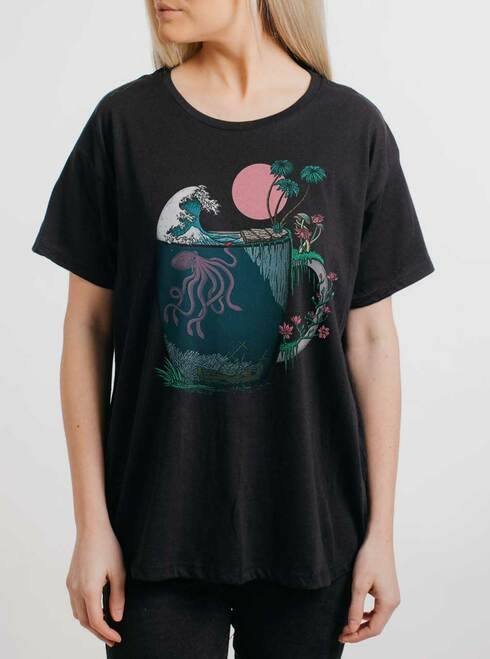 Ocean Brew - Multicolor on Black Womens Boyfriend T Shirt