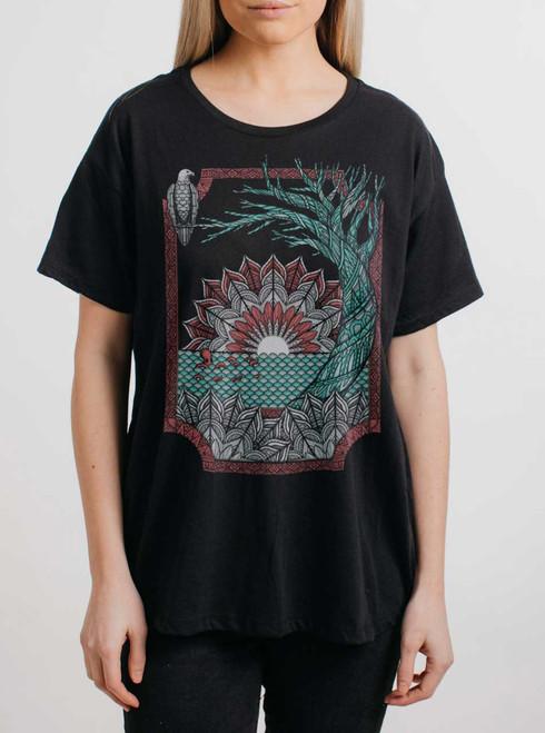 Octo & Eagle - Multicolor on Black Womens Boyfriend T Shirt