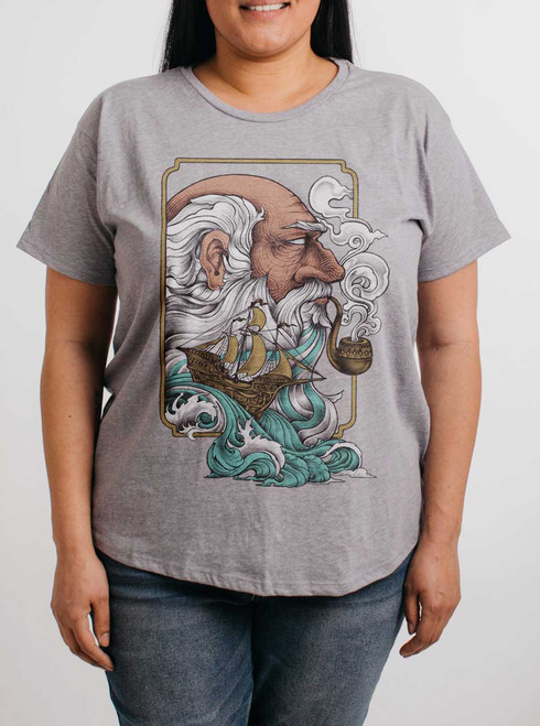 Old Man And The Sea - Multicolor on Heather Grey Womens Boyfriend T Shirt