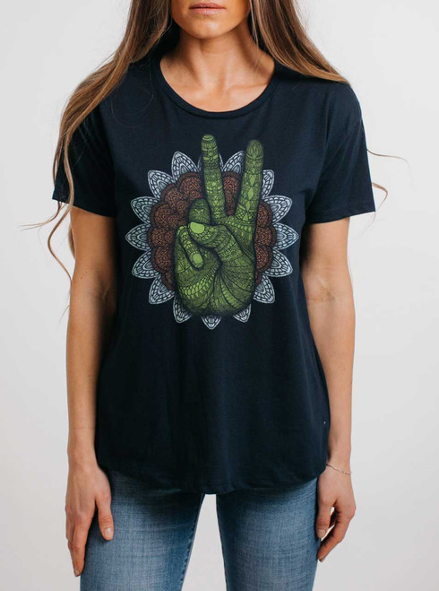 Peace - Multicolor on Navy Womens Boyfriend T Shirt