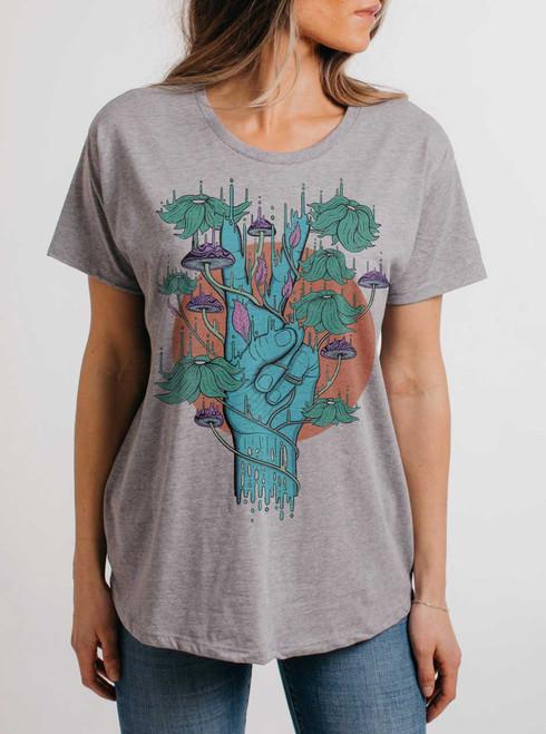 Peace Please - Multicolor on Heather Grey Womens Boyfriend T Shirt