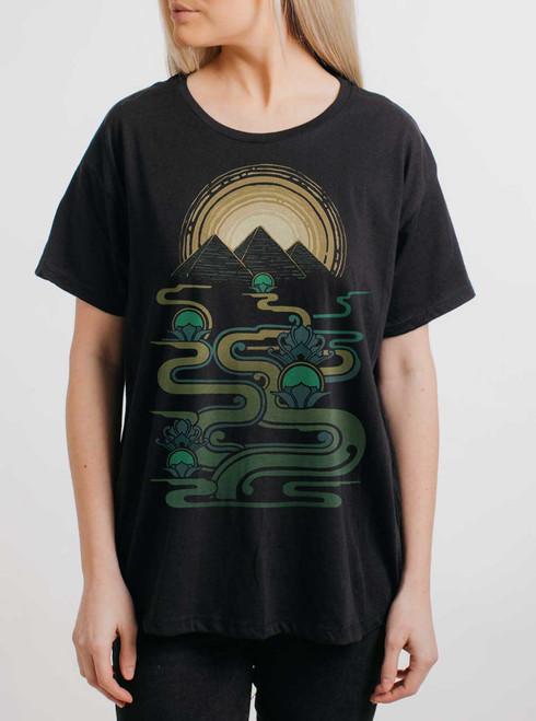 Pyramids - Multicolor on Black Womens Boyfriend T Shirt