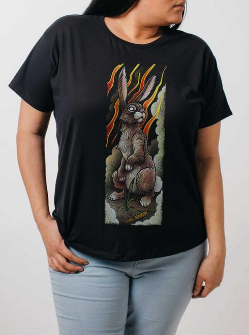 Rabbit - Multicolor on Black Womens Boyfriend T Shirt