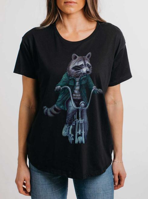 Raccoon - Multicolor on Black Womens Boyfriend T Shirt