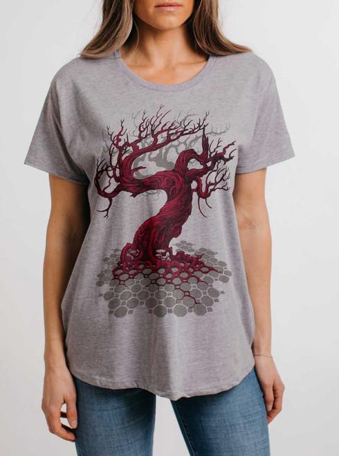 Reclamation - Multicolor on Heather Grey Womens Boyfriend T Shirt