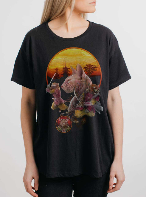 Samurai Cats - Multicolor on Black Womens Boyfriend T Shirt