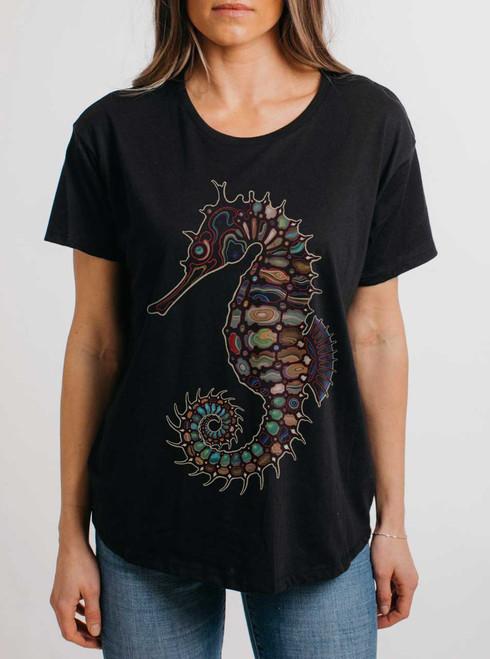 Seahorse - Multicolor on Black Womens Boyfriend T Shirt