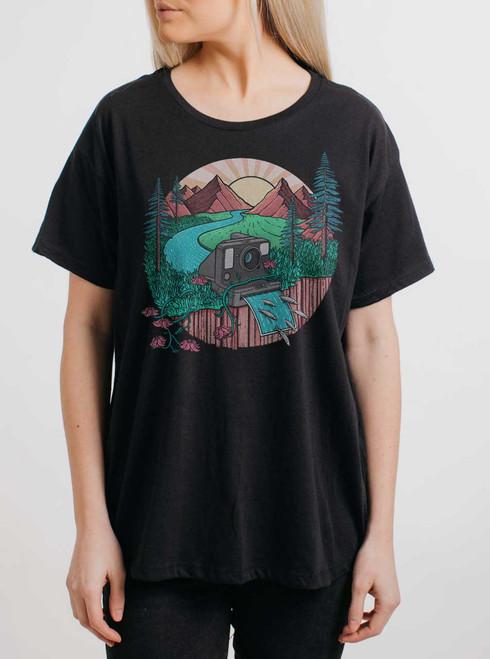 Snap Shot - Multicolor on Black Womens Boyfriend T Shirt