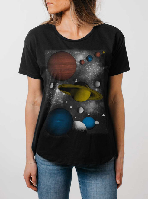 Solar - Multicolor on Black Womens Boyfriend T Shirt