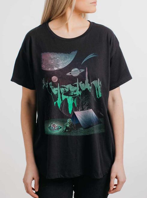 Space Camp - Multicolor on Black Womens Boyfriend T Shirt