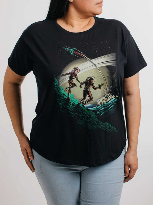 Space Travelers - Multicolor on Black Womens Boyfriend T Shirt