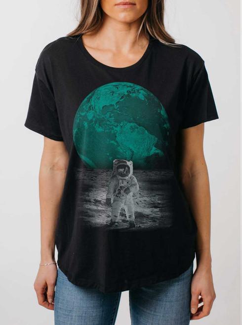 Spaceman - Multicolor on Black Womens Boyfriend T Shirt