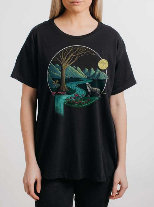 Spirit Animal - Multicolor on Black Womens Boyfriend T Shirt