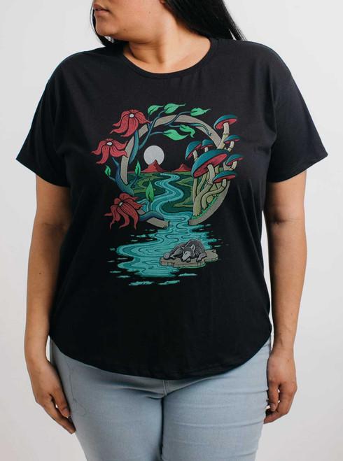 Spirit Guide - Multicolor on Black Womens Boyfriend T Shirt