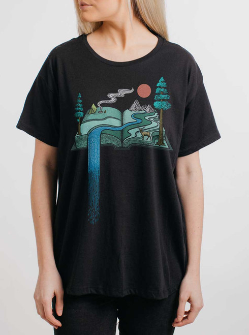 Story Book - Multicolor on Black Womens Boyfriend T Shirt