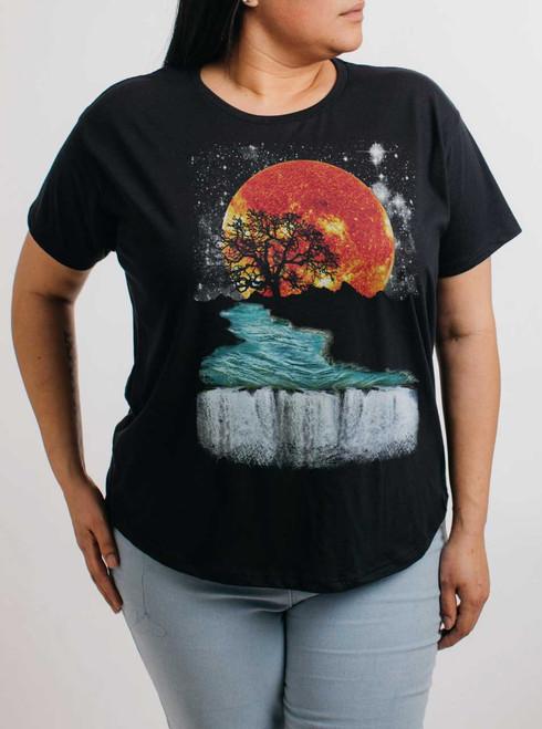 Sunset Waterfall - Multicolor on Black Womens Boyfriend T Shirt