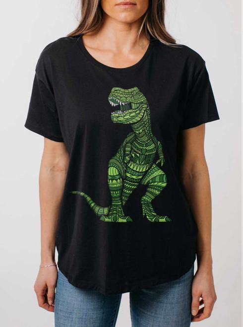 T Rex - Multicolor on Black Womens Boyfriend T Shirt