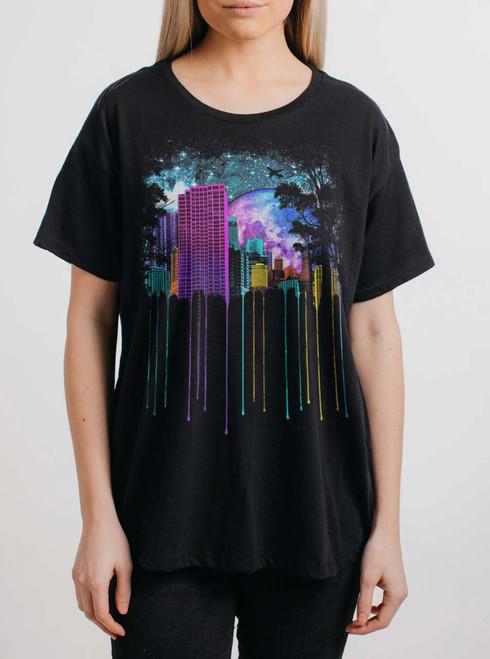 The City - Multicolor on Black Womens Boyfriend T Shirt