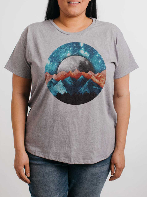 The Mountains - Multicolor on Heather Grey Womens Boyfriend T Shirt