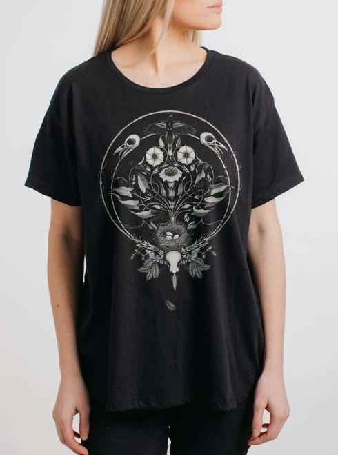 The Ravens Drum - Multicolor on Black Womens Boyfriend T Shirt