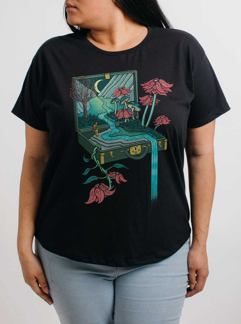 Traveling Suitcase - Multicolor on Black Womens Boyfriend T Shirt
