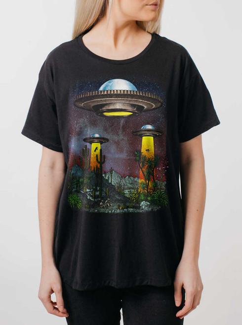 UFOs - Multicolor on Black Womens Boyfriend T Shirt