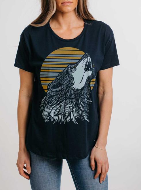 Wolf - Multicolor on Navy Womens Boyfriend T Shirt