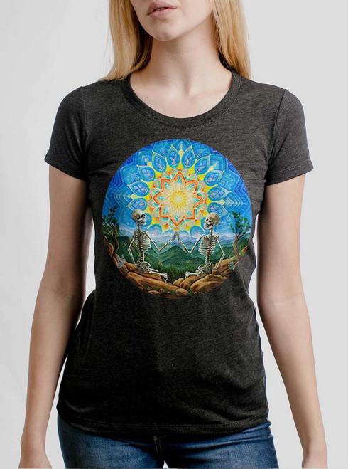 Union - Multicolor on Heather Black Triblend Junior Womens T-Shirt