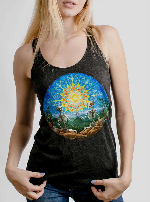 Union - Multicolor on Heather Black Triblend Womens Racerback Tank Top
