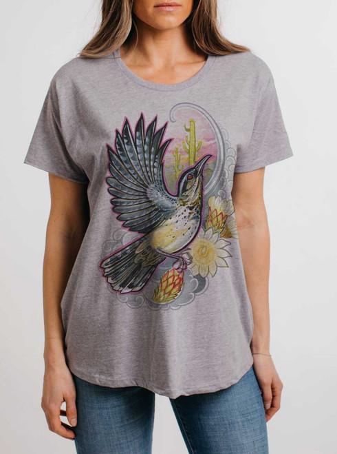 Cactus Wren - Multicolor on Heather Grey Womens Boyfriend T Shirt