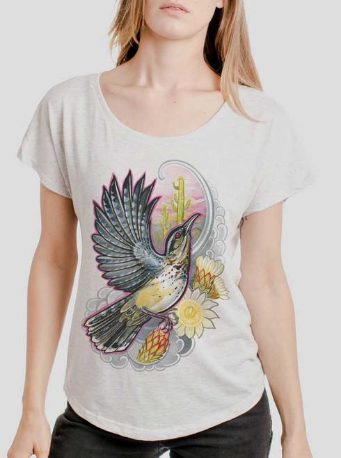 Cactus Wren - Multicolor on Heather White Triblend Womens Dolman T Shirt