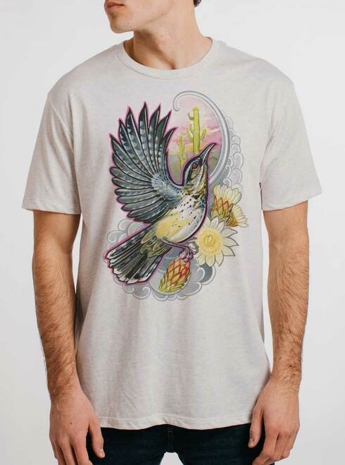 Cactus Wren - Multicolor on Heather White Triblend Mens T Shirt