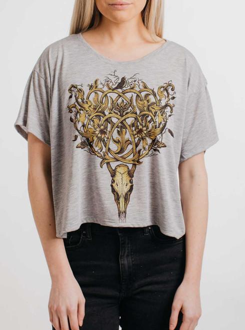 Deer Skull - Multicolor on Grey Womens Oversized Cropped T Shirt