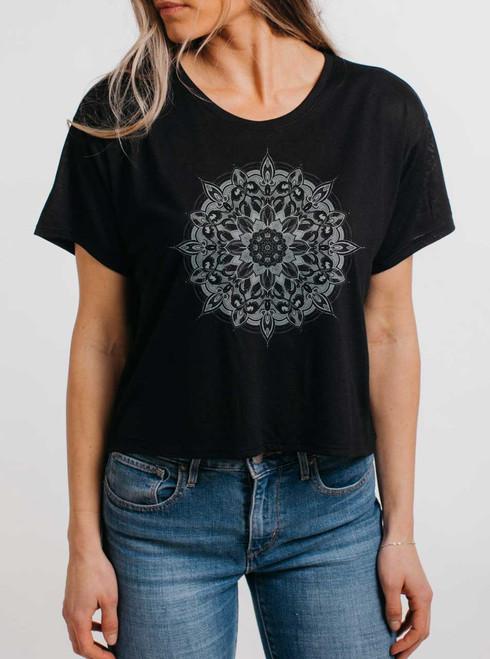Halo - White on Black Womens Oversized Cropped T Shirt