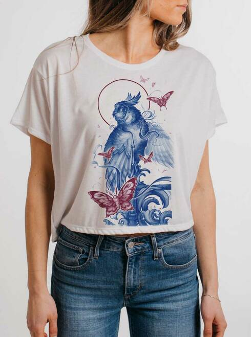 Owl and Moths - Multicolor on White Womens Oversized Cropped T Shirt