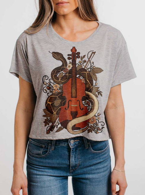 Rattlesnake Violin - Multicolor on Grey Womens Oversized Cropped T Shirt