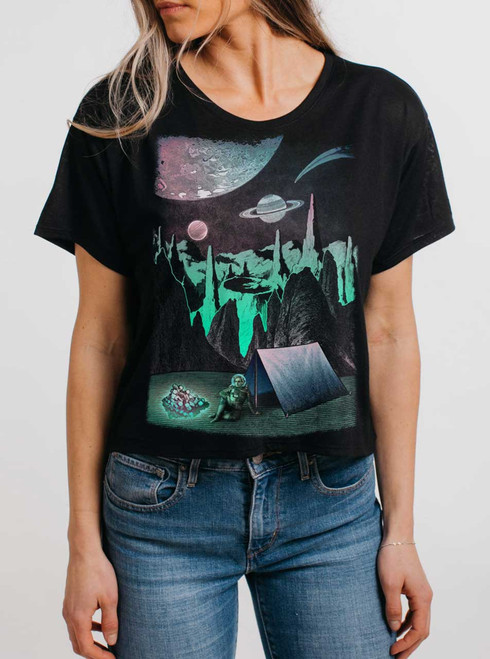Space Camp - Multicolor on Black Womens Oversized Cropped T Shirt
