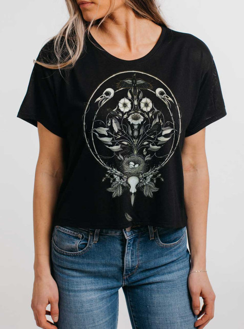 The Ravens Drum - Multicolor on Black Womens Oversized Cropped T Shirt
