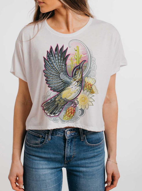 Cactus Wren - Multicolor on White Womens Oversized Cropped T Shirt