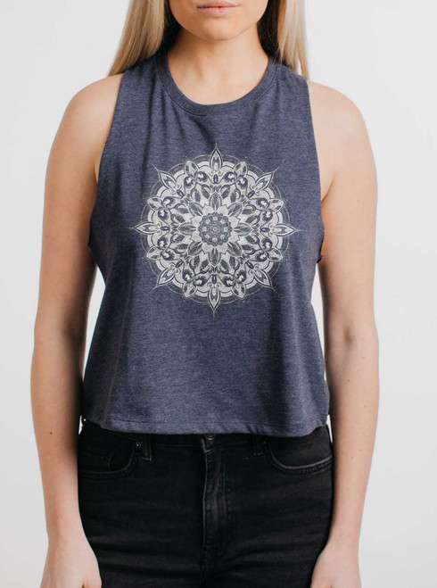 Halo - White on Navy Womens Cropped Racerback Tank