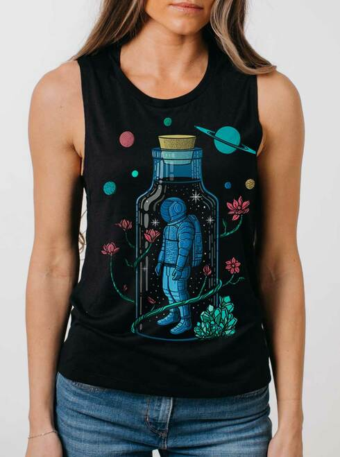 Astro Sauce - Multicolor on Black Womens Muscle Tank