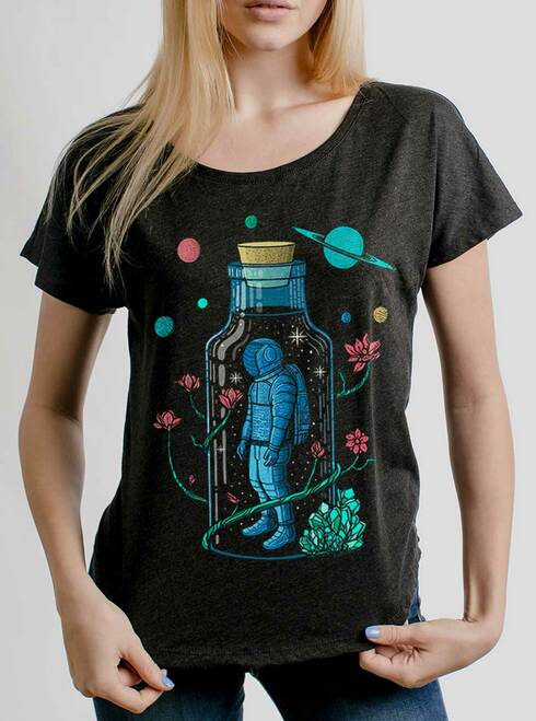 Astro Sauce - Multicolor on Heather Black Triblend Womens Dolman T Shirt