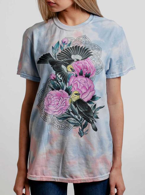 Black Birds - Multicolor on Coral Womens Tie Dye T Shirt