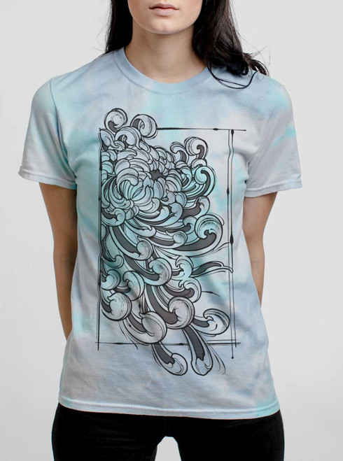 Chrysanthemum - Black on Turquoise Womens Tie Dye T Shirt