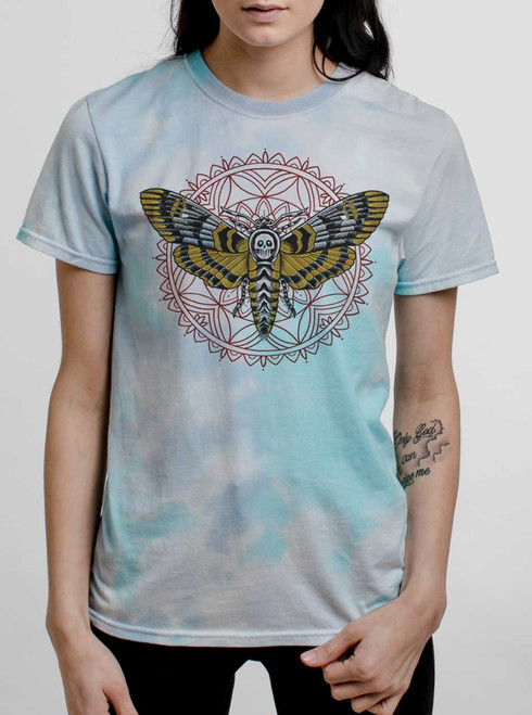 Death Head - Multicolor on Turquoise Womens Tie Dye T Shirt