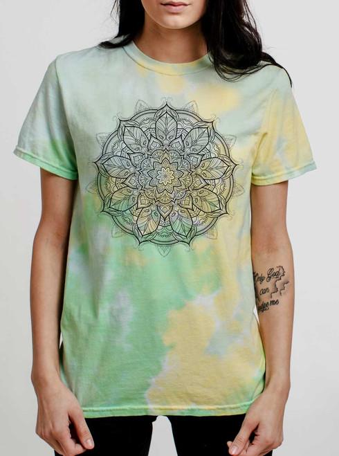 Mandala - Black on Lemon Lime Womens Tie Dye T Shirt