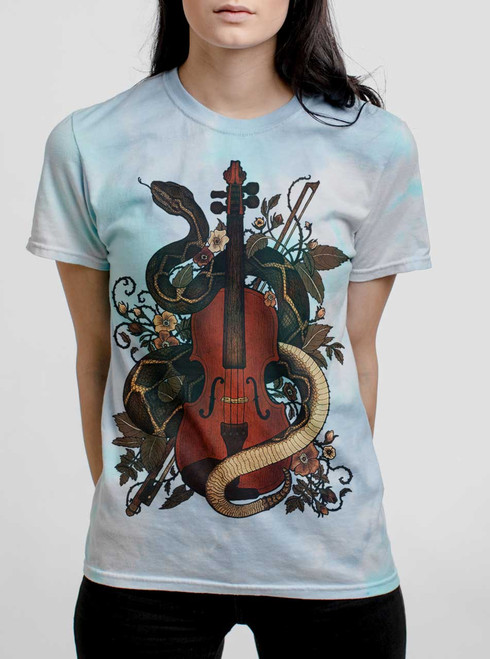 Rattlesnake Violin - Multicolor on Turquoise Womens Tie Dye T Shirt
