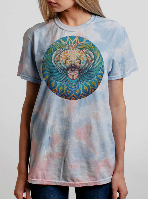 Scarab - Multicolor on Coral Womens Tie Dye T Shirt