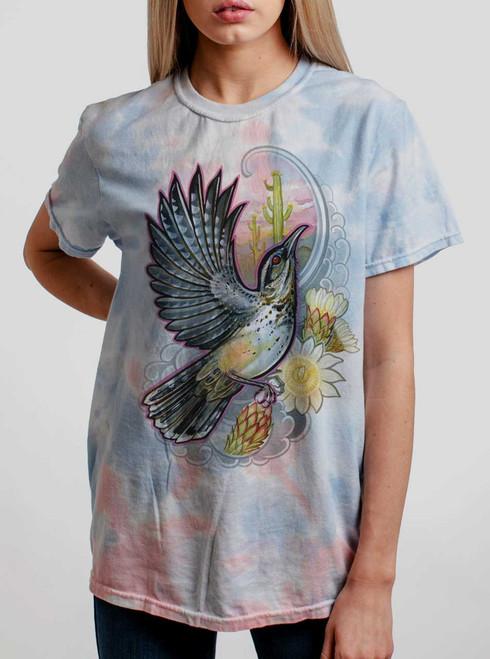 Cactus Wren - Multicolor on Coral Womens Tie Dye T Shirt